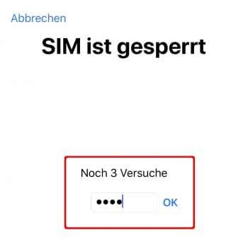 SIM-PIN eingeben am iPhone