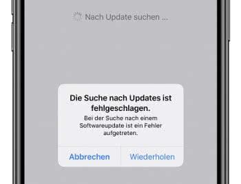 iOS Update Suche Fehlermeldung