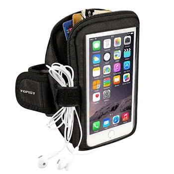 Schwarzes Sportarmband mit geräumiger Tasche für iPhone