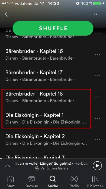 Spotify Hörbuch Ansicht Nutzer Playlist