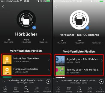 Spotify Hörbücher Profile-Plylists