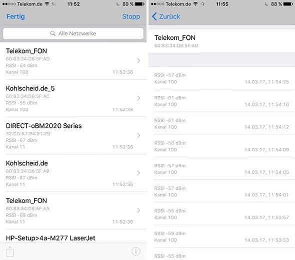WLAN-Monitor auf dem iPhone anzeigen