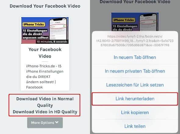 """Auf FBDOWN.net Download-Link gedrückt halten und auf """"Link herunterladen"""" tippen"""