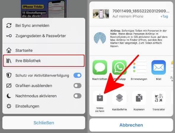 """In Firefox-App das Menü öffnen (drei waagerechte Balken), """"Ihre Bibliothek"""" wählen und auf """"Video sichern"""" tippen"""