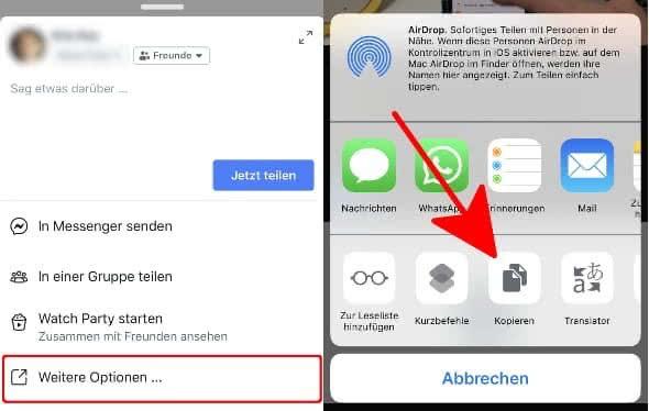 """In der Facebook-App unter einem Video auf """"Teilen"""" tippen, """"Weitere Optionen..."""" wählen und auf """"Kopieren"""" gehen"""