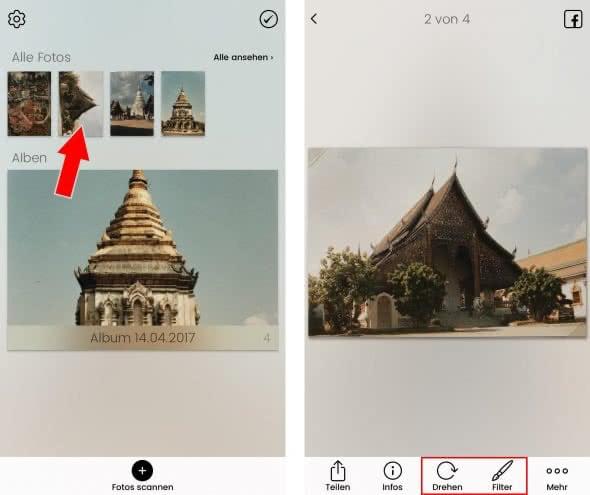 Digitalisierte Fotos bearbeiten