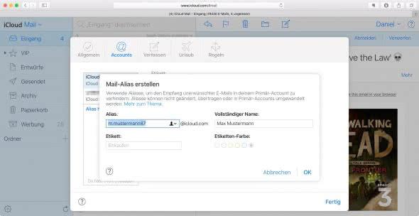 iCloud: E-Mail-Alias erstellen