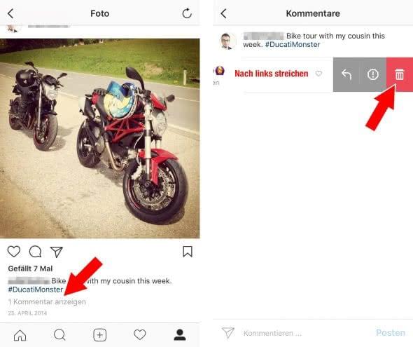 Kommentare löschen auf Instagram