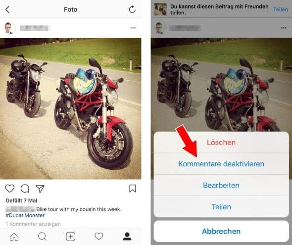 Kommentare deaktivieren für bestehende Fotos und Videos