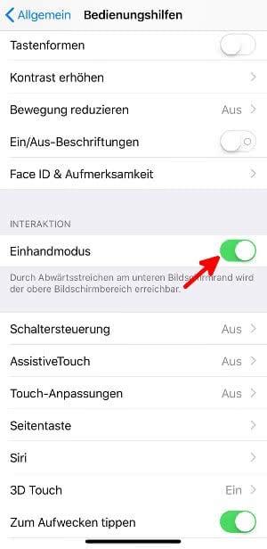 iPhone Einhandmodus aktivieren oder deaktivieren