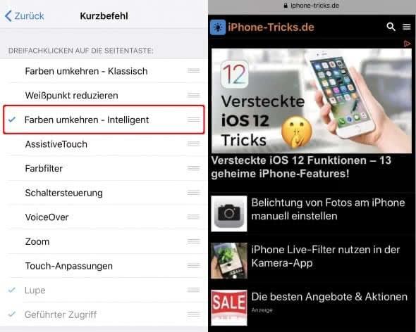 iPhone Farben umkehren Kurzbefehl