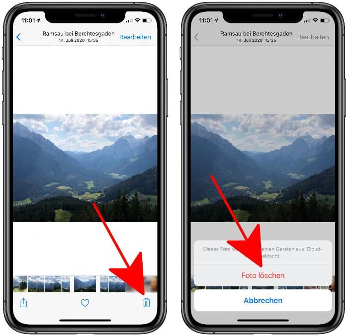 Foto löschen auf dem iPhone