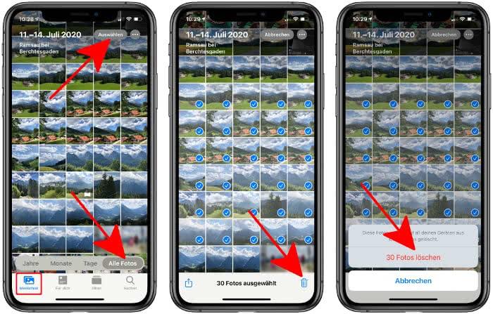 Fotos löschen auf dem iPhone