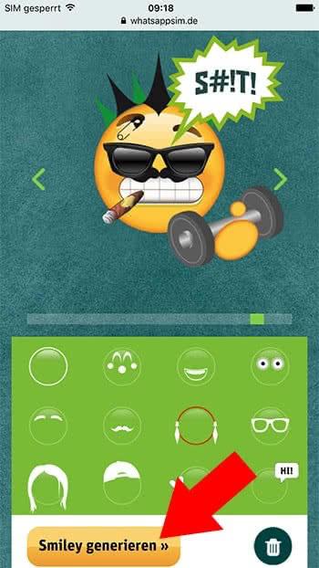 Eigenen Smiley erstellen mit dem Smiley-Creator von WhatsApp SIM – Smiley generieren