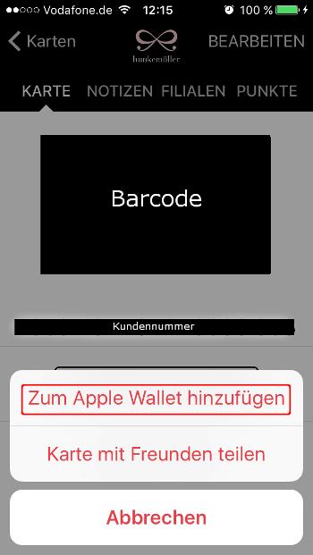 Stocard Karte Apple Wallet hinzufügen