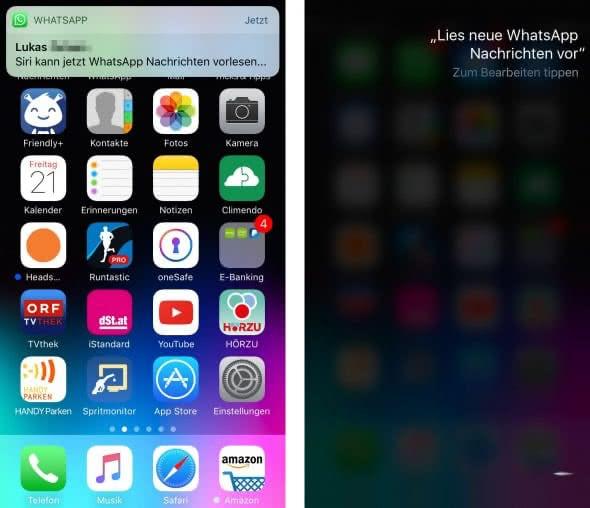 WhatsApp-Nachrichten von Siri vorlesen lassen
