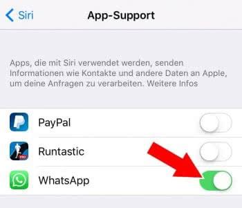 Siri-Support für WhatsApp aktivieren