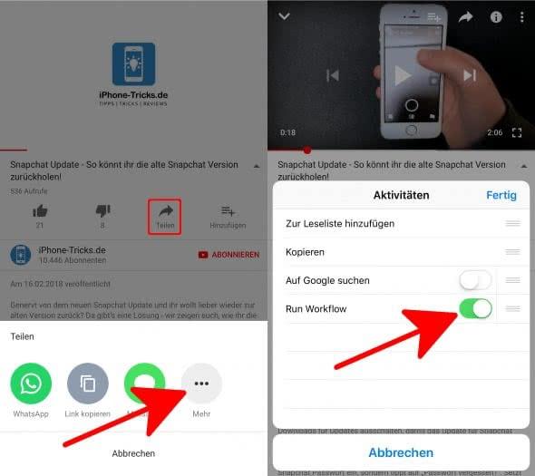 Youtube-Videos herunterladen auf das iPhone mit Workflow-App