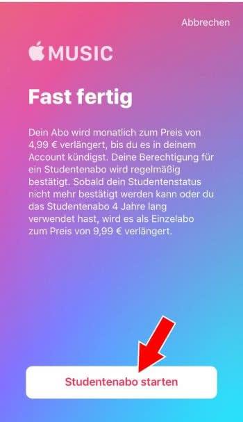 Apple Music Studenten-Abo abschließen