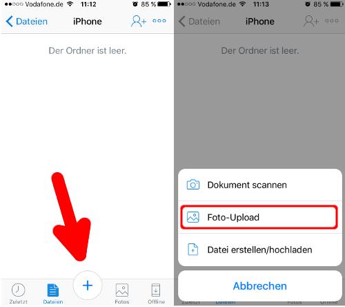 Dropbox Fotos hochladen