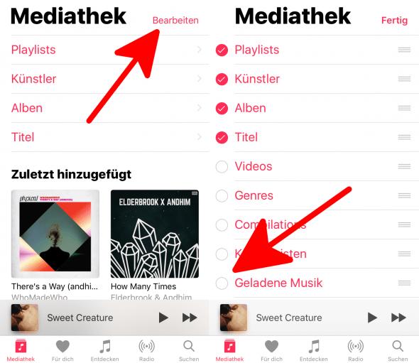 Geladene Musik hinzufügen 1 Apple Music