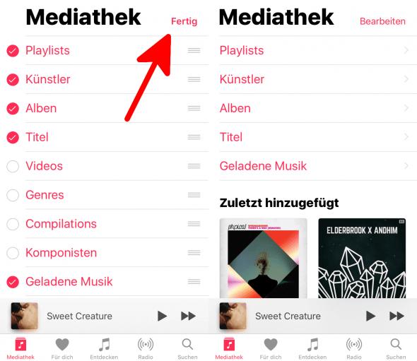 Geladene Musik hinzufügen 2 Apple Music