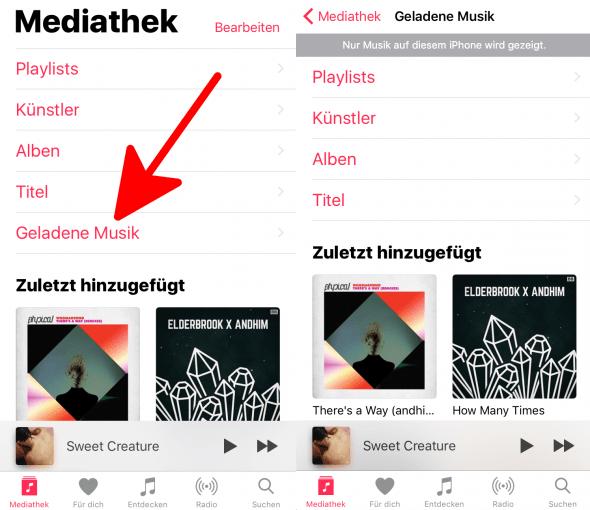 Geladene Musik hinzufügen 3 Apple Music