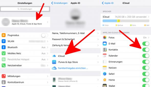 iCloud Kontakte deaktivieren