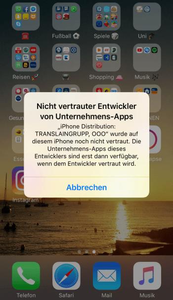 Instagram ++ Fehlermeldung