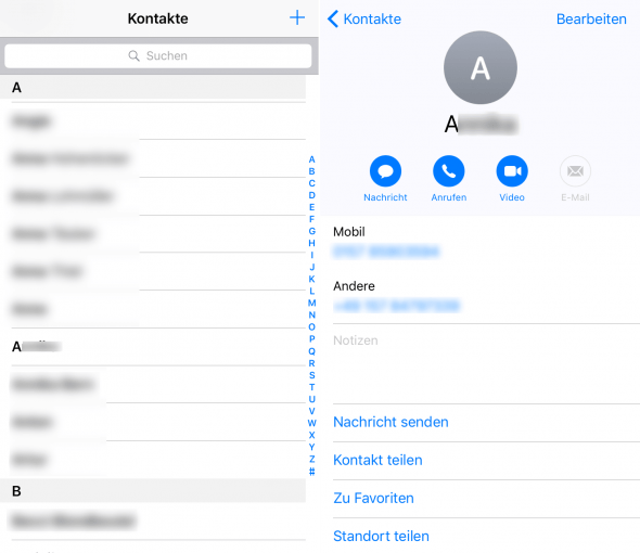Kontakte nachher Phone Clean