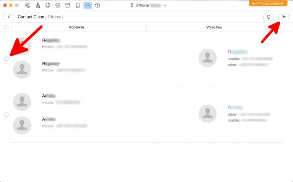 Kontakte zusammenführen 1 Phone Clean