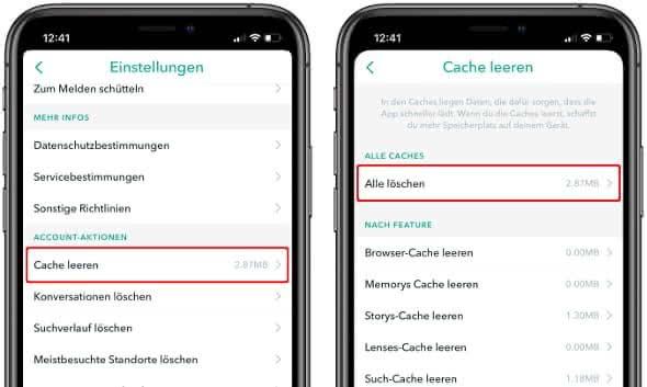 """In der Snapchat-App auf das eigene Profil gehen, das Zahnrad-Symbol antippen und die Optionen """"Cache leeren"""" und """"Alle löschen"""" wählen"""
