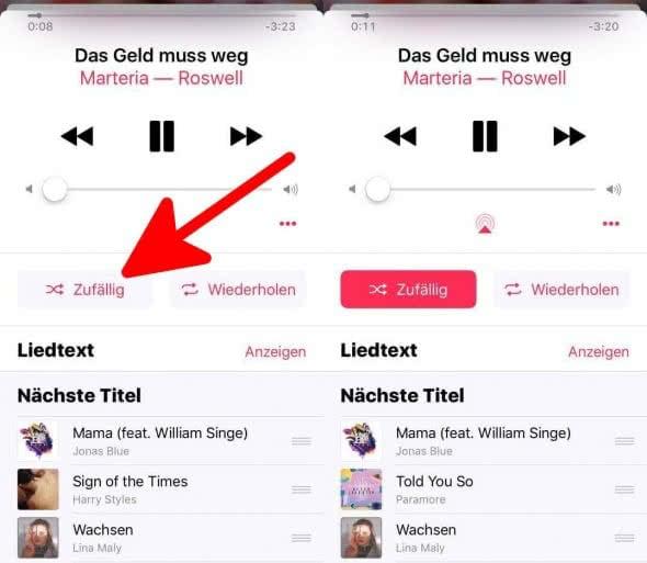 Zufällig oder Wiederholen Apple Music