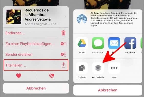 Titel in Apple Music teilen und Kurzbefehle öffnen