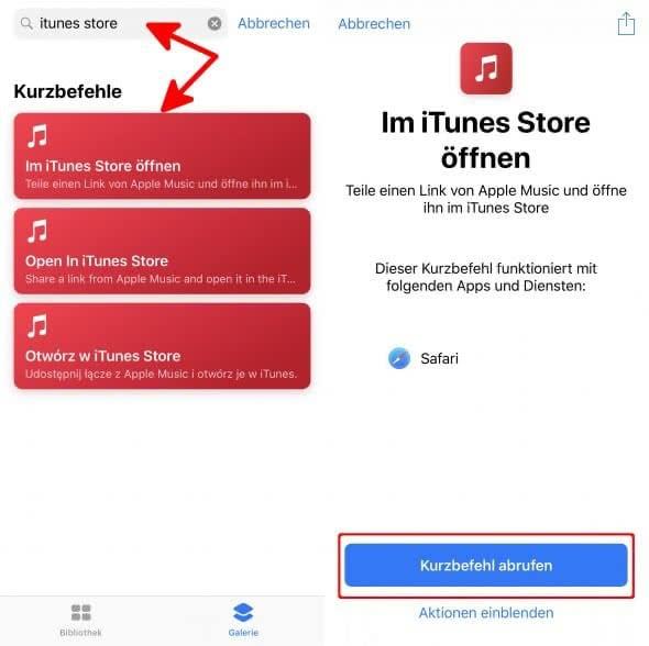 Im iTunes Store öffnen Kurzbefehl abrufen auf dem iPhone