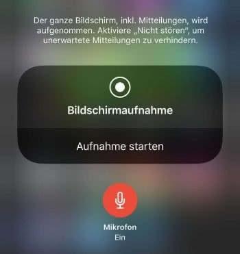 iPhone Bildschirmaufnahme