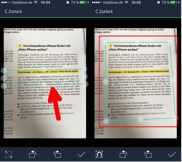 camScanner Ausschnitt ändern