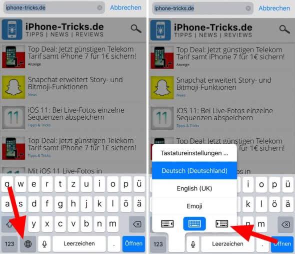 Quick Type: Einhand-Tastatur unter iOS 11 nutzen