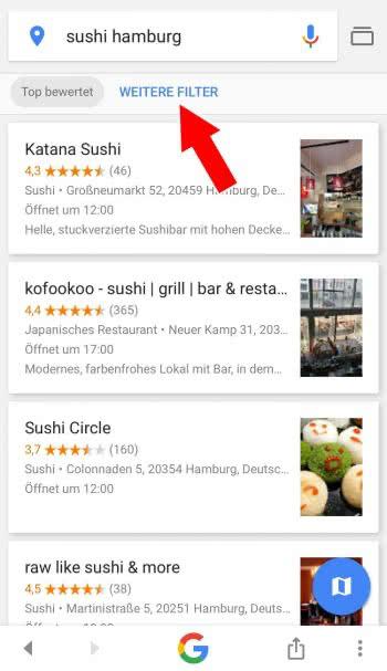 Suchergebnisse filtern in Google-App