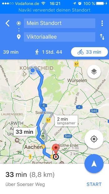 GoogleMaps Strecke-Fahrradmodus