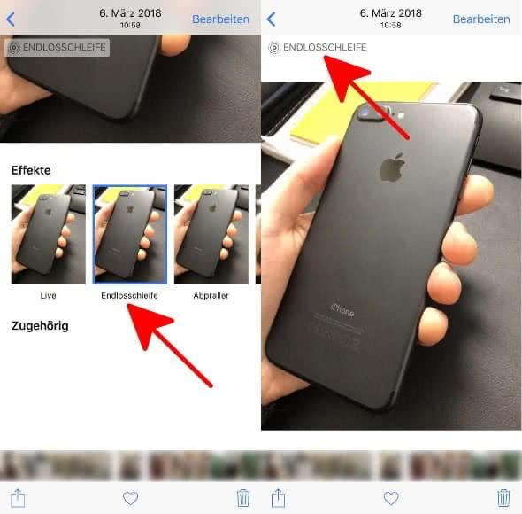 """Live Photo in der Fotos-App hochwischen und auf """"Endlosschleife"""" tippen"""