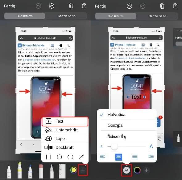 Text zu Screenshot hinzufügen und Schriftart ändern