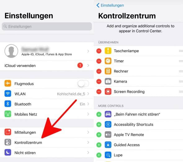Kontrollzentrum 1 ios 11