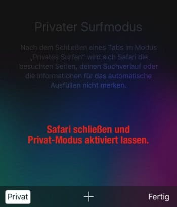 Privat-Modus aktiviert lassen