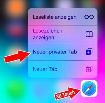 3D Touch: Neuer privater Tab