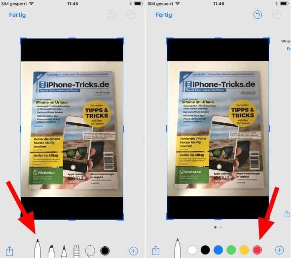 Screenshots auf dem iPhone bearbeiten