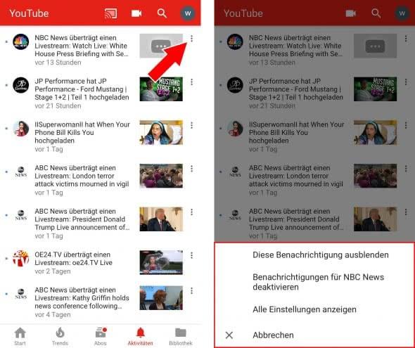 YouTube-Benachrichtigungen verwalten