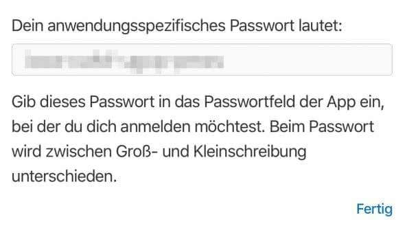 Anwendungsspezifisches Passwort erstellen