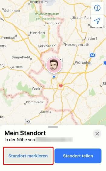 Standort markieren in der Karten-App