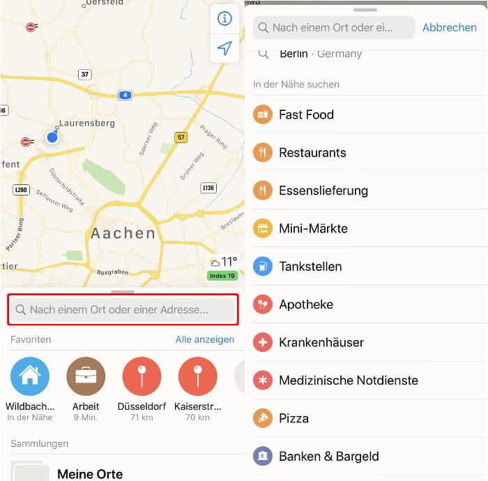Orte entdecken in der Karten-App